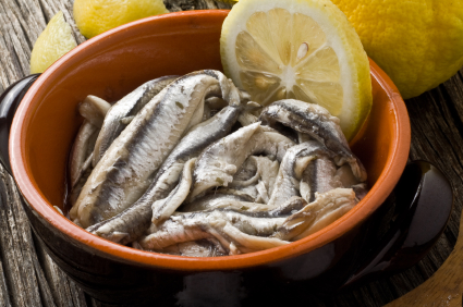 Anchovies marinated in lemon