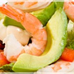 Tasty salad with avocado and shrimps