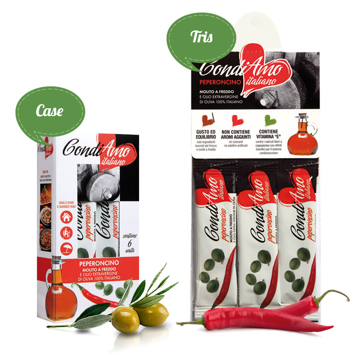 Chili pepper flavoured extra virgin oil single-serving packs in tris and case packaging