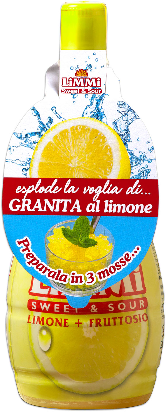 Limmi Sweet & Sour lemon juice bottle with granita label
