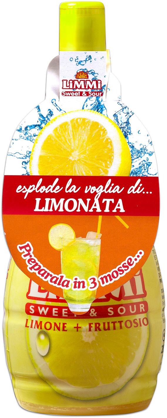 Bottiglietta di succo di limone Limmi Sweet & Sour con collarino dedicato alla limonata